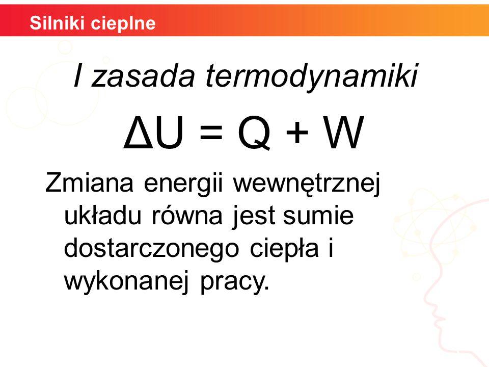 Silniki cieplne Przemiana izochoryczna W=0 Gaz nie wykonuje pracy i siły zewnętrzne nie wykonują pracy ΔU =Q Zmiana energii wewnętrznej równa jest wymienionemu ciepłu