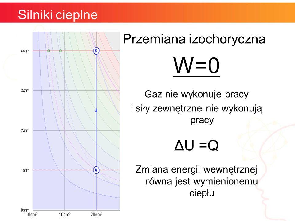 Silniki cieplne Przemiana izochoryczna W=0 Gaz nie wykonuje pracy i siły zewnętrzne nie wykonują pracy ΔU =Q Zmiana energii wewnętrznej równa jest wym