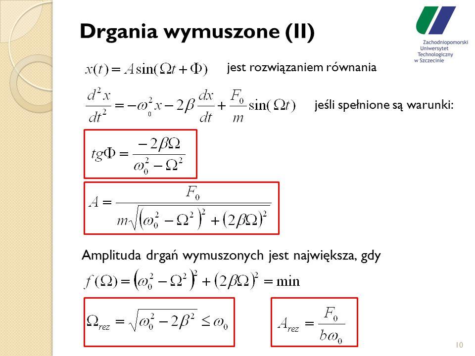 10 Drgania wymuszone (II) jest rozwiązaniem równania jeśli spełnione są warunki: Amplituda drgań wymuszonych jest największa, gdy