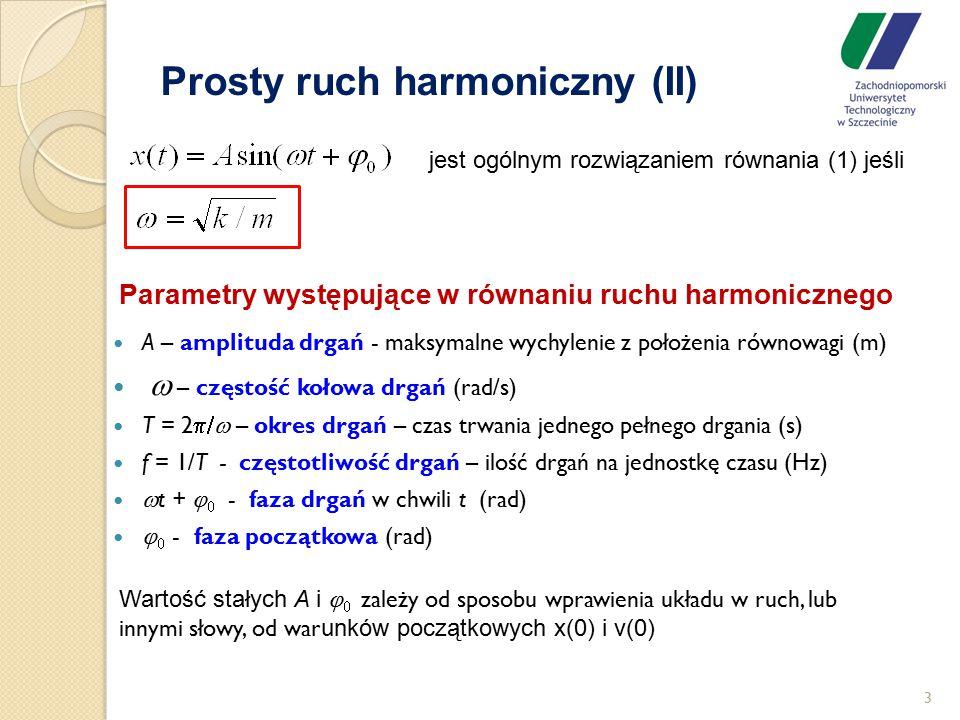 Prosty ruch harmoniczny (II) 3 jest ogólnym rozwiązaniem równania (1) jeśli A – amplituda drgań - maksymalne wychylenie z położenia równowagi (m)  
