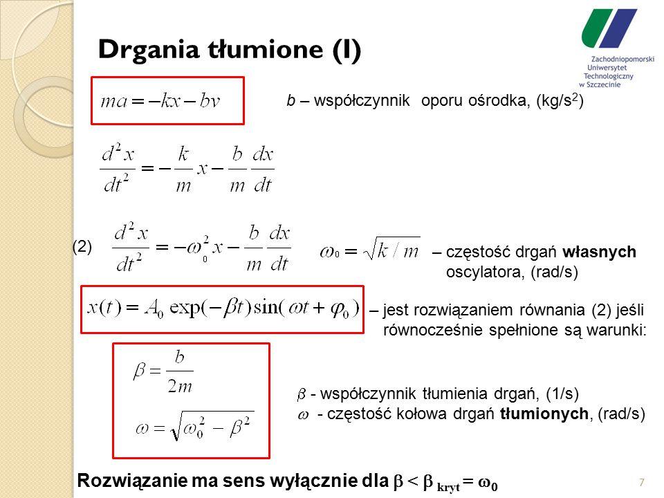 Drgania tłumione (I) 7  - współczynnik tłumienia drgań, (1/s)  - częstość kołowa drgań tłumionych, (rad/s) – częstość drgań własnych oscylatora, (ra