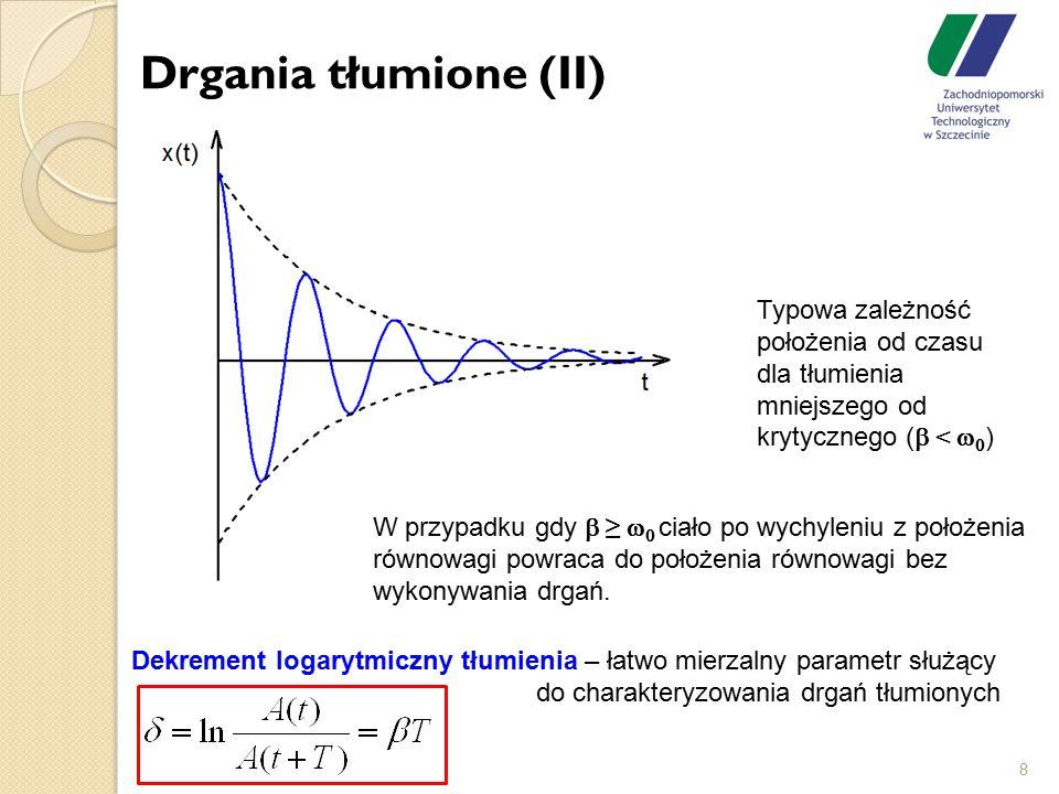 Drgania tłumione (II) 8 Typowa zależność położenia od czasu dla tłumienia mniejszego od krytycznego (  <   ) Dekrement logarytmiczny tłumienia – ła