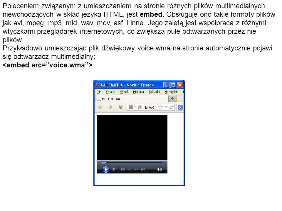 Poleceniem związanym z umieszczaniem na stronie różnych plików multimedialnych niewchodzących w skład języka HTML, jest embed. Obsługuje ono takie for
