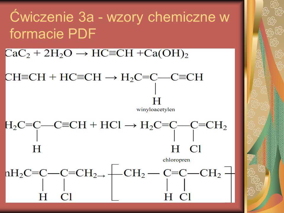Ćwiczenie 3a - wzory chemiczne w formacie PDF