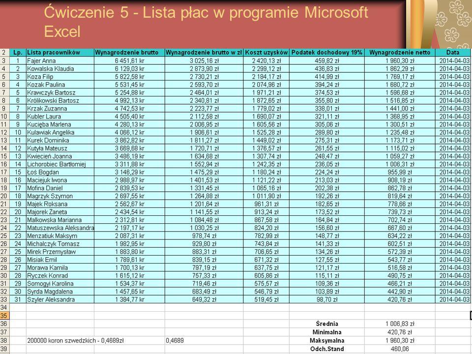 Ćwiczenie 5 - Lista płac w programie Microsoft Excel
