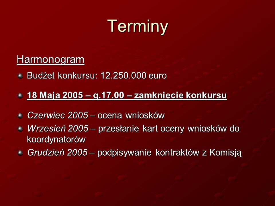 Terminy Harmonogram Budżet konkursu: 12.250.000 euro 18 Maja 2005 – g.17.00 – zamknięcie konkursu Czerwiec 2005 – ocena wniosków Wrzesień 2005 – przesłanie kart oceny wniosków do koordynatorów Grudzień 2005 – podpisywanie kontraktów z Komisją