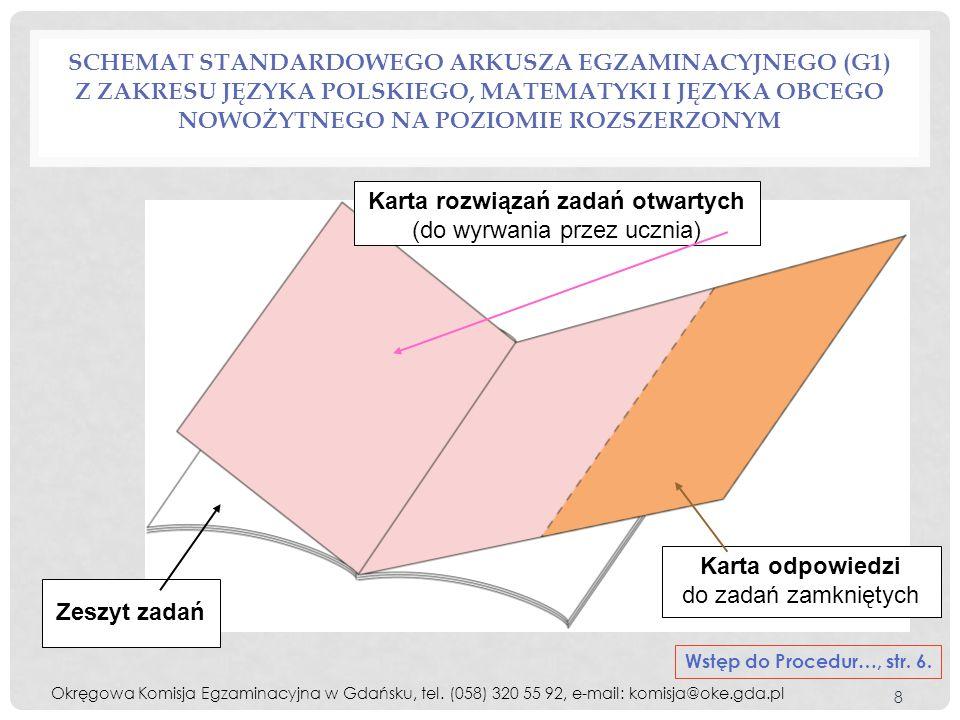 POSTĘPOWANIE ZDAJĄCEGO Z ARKUSZEM EGZAMINACYJNYM Okręgowa Komisja Egzaminacyjna w Gdańsku, tel.