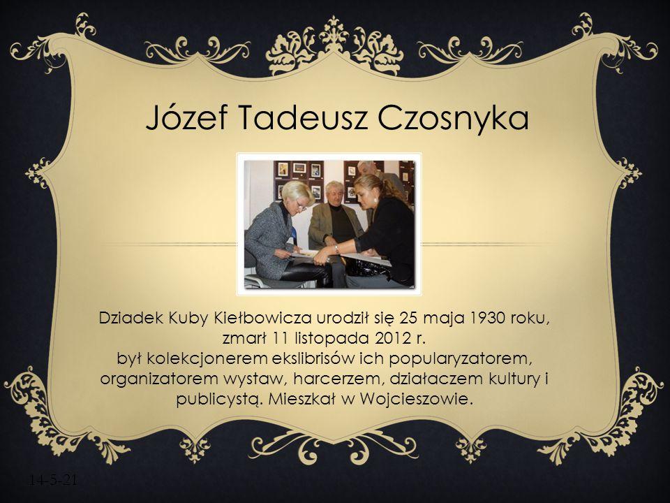 14-5-21 Dziadek Kuby Kiełbowicza urodził się 25 maja 1930 roku, zmarł 11 listopada 2012 r. był kolekcjonerem ekslibrisów ich popularyzatorem, organiza