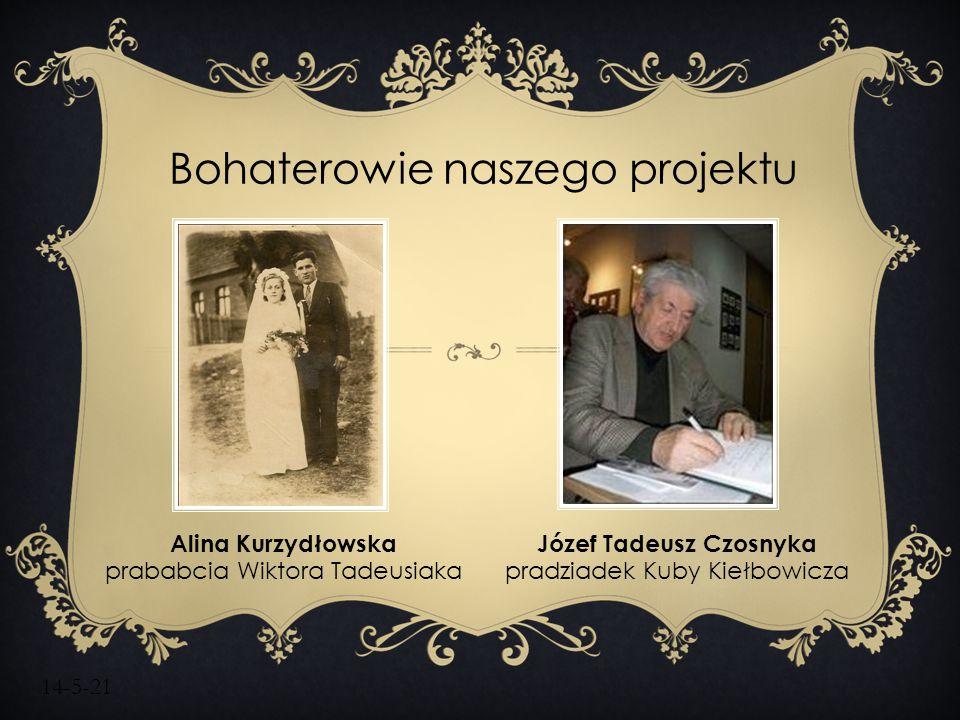 14-5-21 Bohaterowie naszego projektu Alina Kurzydłowska prababcia Wiktora Tadeusiaka Józef Tadeusz Czosnyka pradziadek Kuby Kiełbowicza