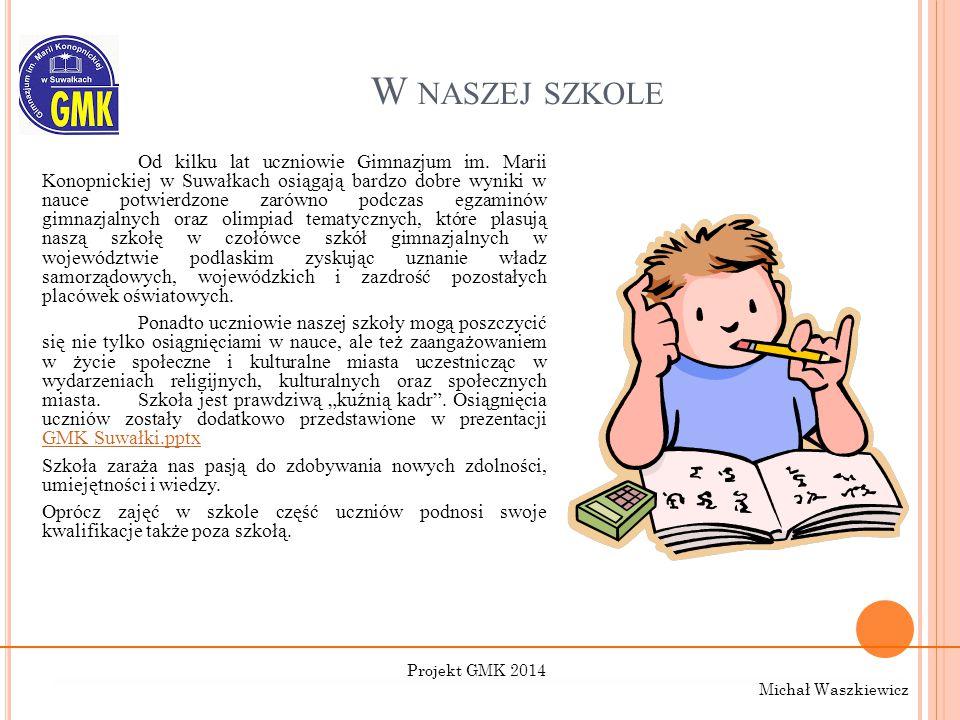 W NASZEJ SZKOLE Od kilku lat uczniowie Gimnazjum im. Marii Konopnickiej w Suwałkach osiągają bardzo dobre wyniki w nauce potwierdzone zarówno podczas