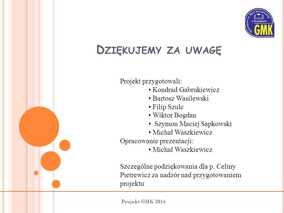 D ZIĘKUJEMY ZA UWAGĘ Projekt GMK 2014 Projekt przygotowali: Kondrad Gabrukiewicz Bartosz Wasilewski Filip Szulc Wiktor Bogdan Szymon Maciej Sapkowski