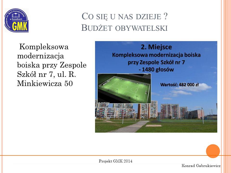 C O SIĘ U NAS DZIEJE ? B UDŻET OBYWATELSKI Kompleksowa modernizacja boiska przy Zespole Szkół nr 7, ul. R. Minkiewicza 50 Projekt GMK 2014 Konrad Gabr