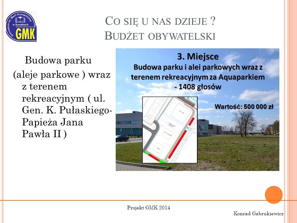 C O SIĘ U NAS DZIEJE ? B UDŻET OBYWATELSKI Budowa parku (aleje parkowe ) wraz z terenem rekreacyjnym ( ul. Gen. K. Pułaskiego- Papieża Jana Pawła II )