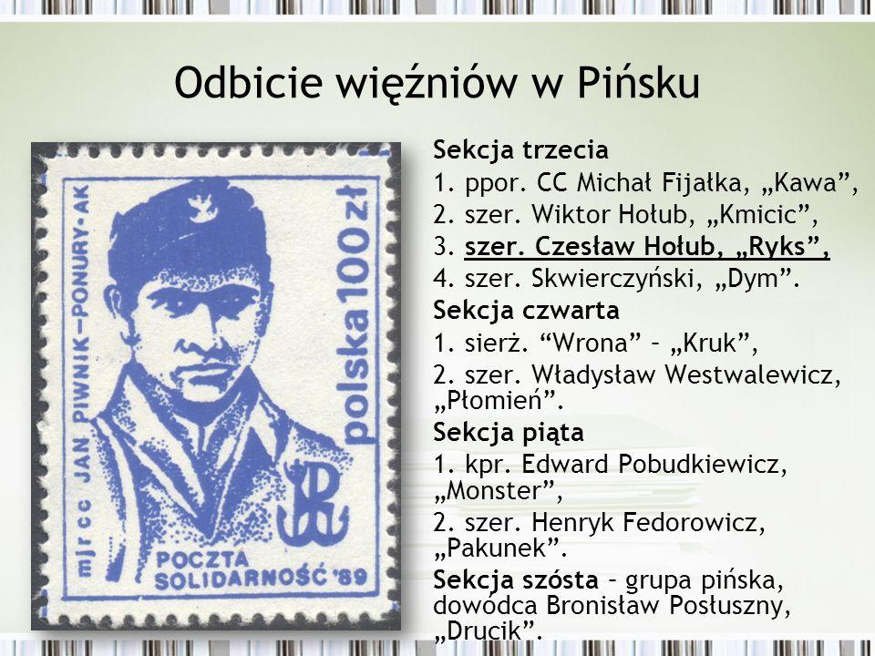 """Odbicie więźniów w Pińsku Sekcja trzecia 1. ppor. CC Michał Fijałka, """"Kawa"""", 2. szer. Wiktor Hołub, """"Kmicic"""", 3. szer. Czesław Hołub, """"Ryks"""", 4. szer."""