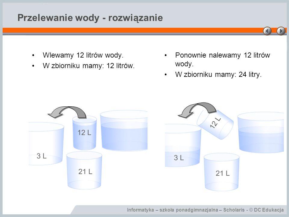 Informatyka – szkoła ponadgimnazjalna – Scholaris - © DC Edukacja Przelewanie wody - rozwiązanie Wlewamy 12 litrów wody. W zbiorniku mamy: 12 litrów.
