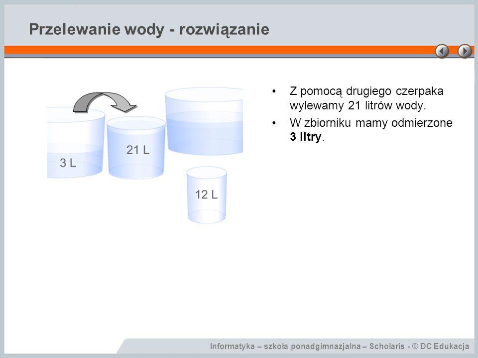 Informatyka – szkoła ponadgimnazjalna – Scholaris - © DC Edukacja Przelewanie wody - rozwiązanie Z pomocą drugiego czerpaka wylewamy 21 litrów wody. W