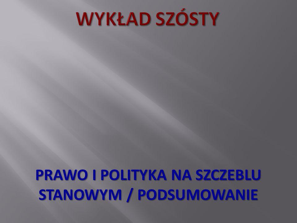 PRAWO I POLITYKA NA SZCZEBLU STANOWYM / PODSUMOWANIE