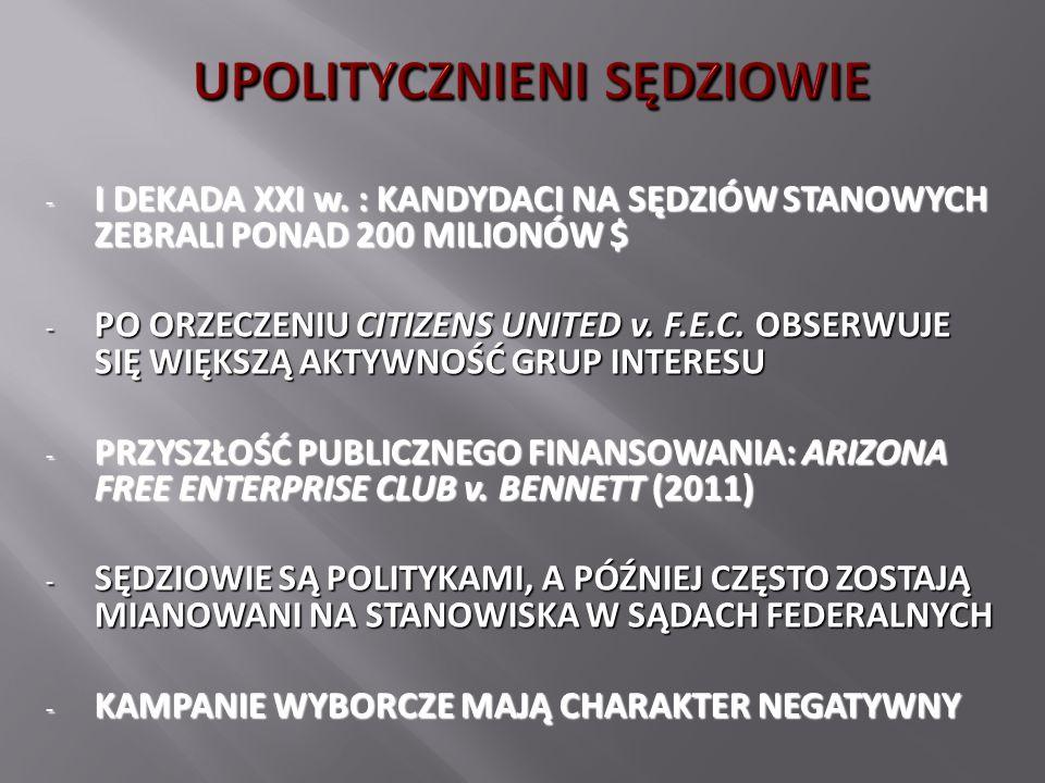 - W 43 STANACH PROKURATORZY POCHODZĄ Z WYBORÓW POWSZECHNYCH (kadencje 4-letnie) - W 7 STANACH PROKURATORZY SĄ MIANOWANI (GUBERNATOR lub LEGISLATURA lub S.N.) - WSPÓŁCZEŚNIE: RÓWNOWAGA POLITYCZNA (26 DEMOKRATÓW, 24 REPUBLIKANÓW) - UPOLITYCZNIENIE PROKURATURY (?) : KATHERINE HARRIS – ROK 2000