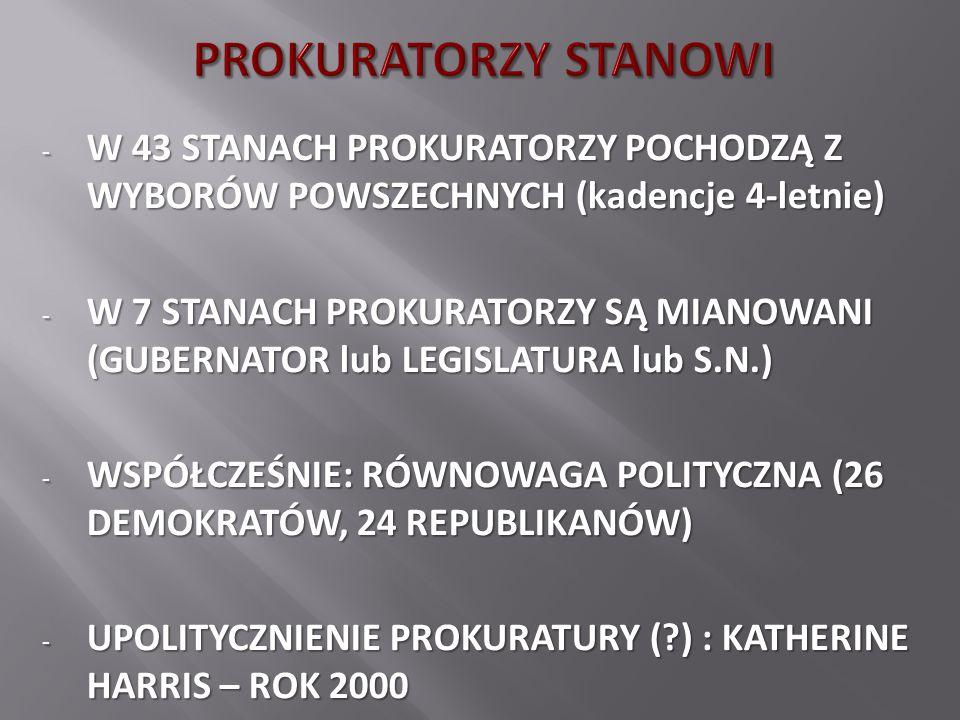 - W 43 STANACH PROKURATORZY POCHODZĄ Z WYBORÓW POWSZECHNYCH (kadencje 4-letnie) - W 7 STANACH PROKURATORZY SĄ MIANOWANI (GUBERNATOR lub LEGISLATURA lub S.N.) - WSPÓŁCZEŚNIE: RÓWNOWAGA POLITYCZNA (26 DEMOKRATÓW, 24 REPUBLIKANÓW) - UPOLITYCZNIENIE PROKURATURY ( ) : KATHERINE HARRIS – ROK 2000