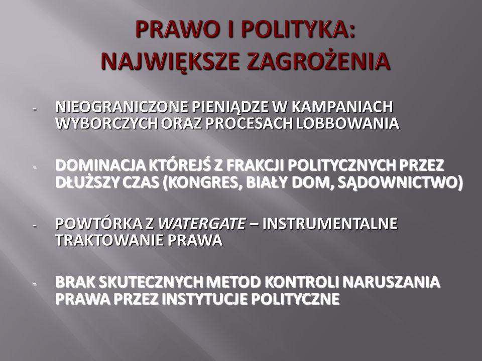 - NIEOGRANICZONE PIENIĄDZE W KAMPANIACH WYBORCZYCH ORAZ PROCESACH LOBBOWANIA - DOMINACJA KTÓREJŚ Z FRAKCJI POLITYCZNYCH PRZEZ DŁUŻSZY CZAS (KONGRES, BIAŁY DOM, SĄDOWNICTWO) - POWTÓRKA Z WATERGATE – INSTRUMENTALNE TRAKTOWANIE PRAWA - BRAK SKUTECZNYCH METOD KONTROLI NARUSZANIA PRAWA PRZEZ INSTYTUCJE POLITYCZNE