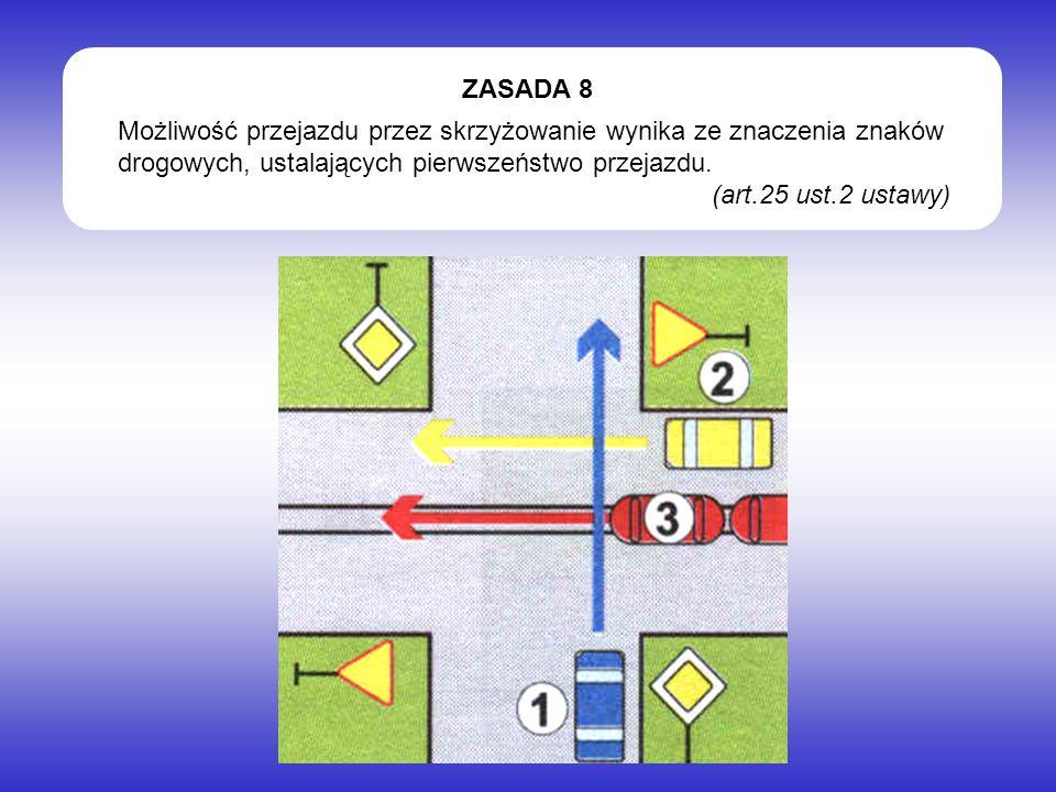 Możliwość przejazdu przez skrzyżowanie wynika ze znaczenia znaków drogowych, ustalających pierwszeństwo przejazdu.
