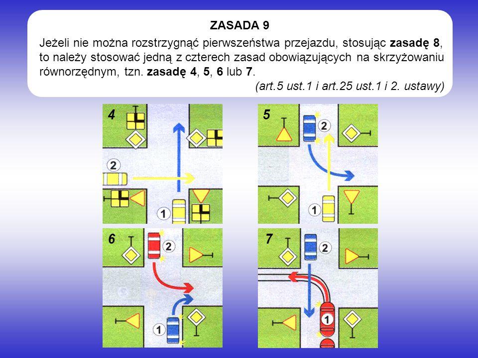 Jeżeli nie można rozstrzygnąć pierwszeństwa przejazdu, stosując zasadę 8, to należy stosować jedną z czterech zasad obowiązujących na skrzyżowaniu równorzędnym, tzn.