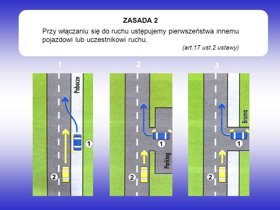 Przy włączaniu się do ruchu ustępujemy pierwszeństwa innemu pojazdowi lub uczestnikowi ruchu. (art.17 ust.2 ustawy) ZASADA 2 12 3