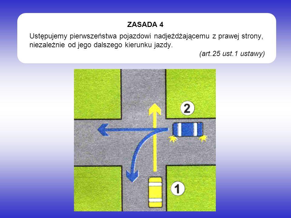 Ustępujemy pierwszeństwa pojazdowi nadjeżdżającemu z prawej strony, niezależnie od jego dalszego kierunku jazdy.