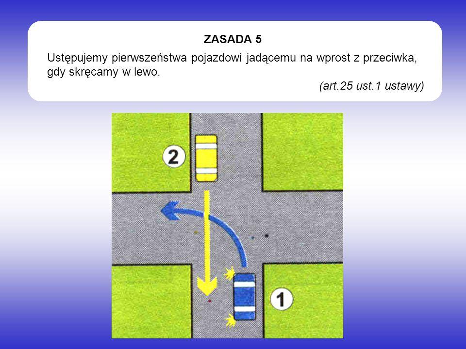 Ustępujemy pierwszeństwa pojazdowi jadącemu na wprost z przeciwka, gdy skręcamy w lewo. (art.25 ust.1 ustawy) ZASADA 5