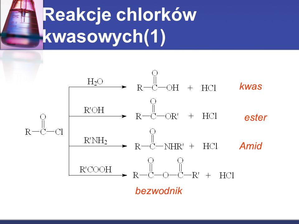 Reakcje chlorków kwasowych(1) kwas ester Amid bezwodnik