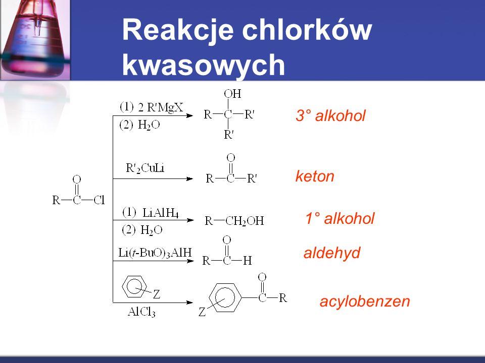 Reakcje chlorków kwasowych 3° alkohol keton 1° alkohol aldehyd acylobenzen