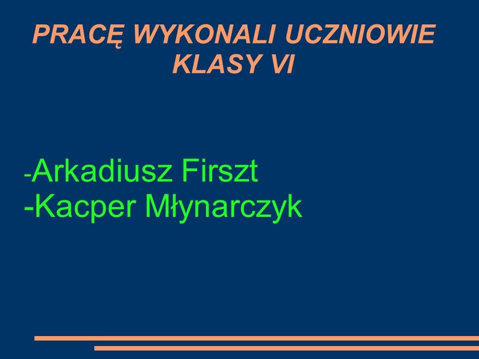 PRACĘ WYKONALI UCZNIOWIE KLASY VI - Arkadiusz Firszt -Kacper Młynarczyk