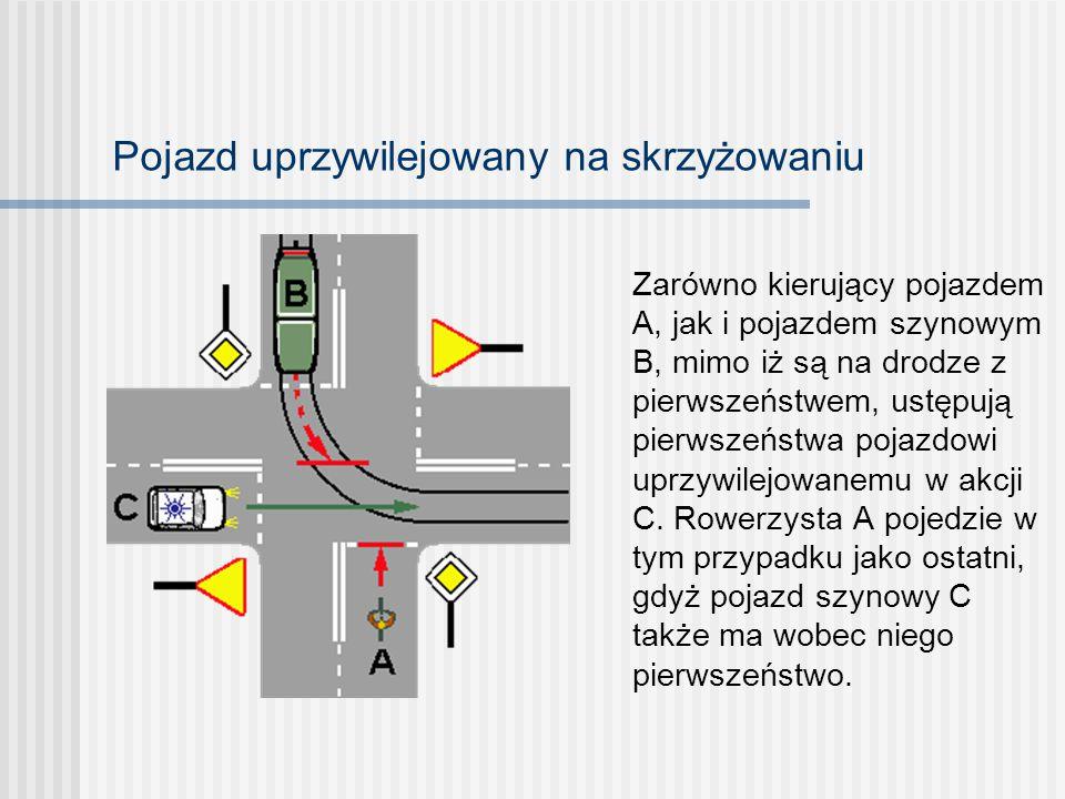 Skrzyżowanie drogi podporządkowanej z drogą z pierwszeństwem Kierujący rowerem A ustępuje pierwszeństwa rowerzyście C, ponieważ obaj znajdują się na d