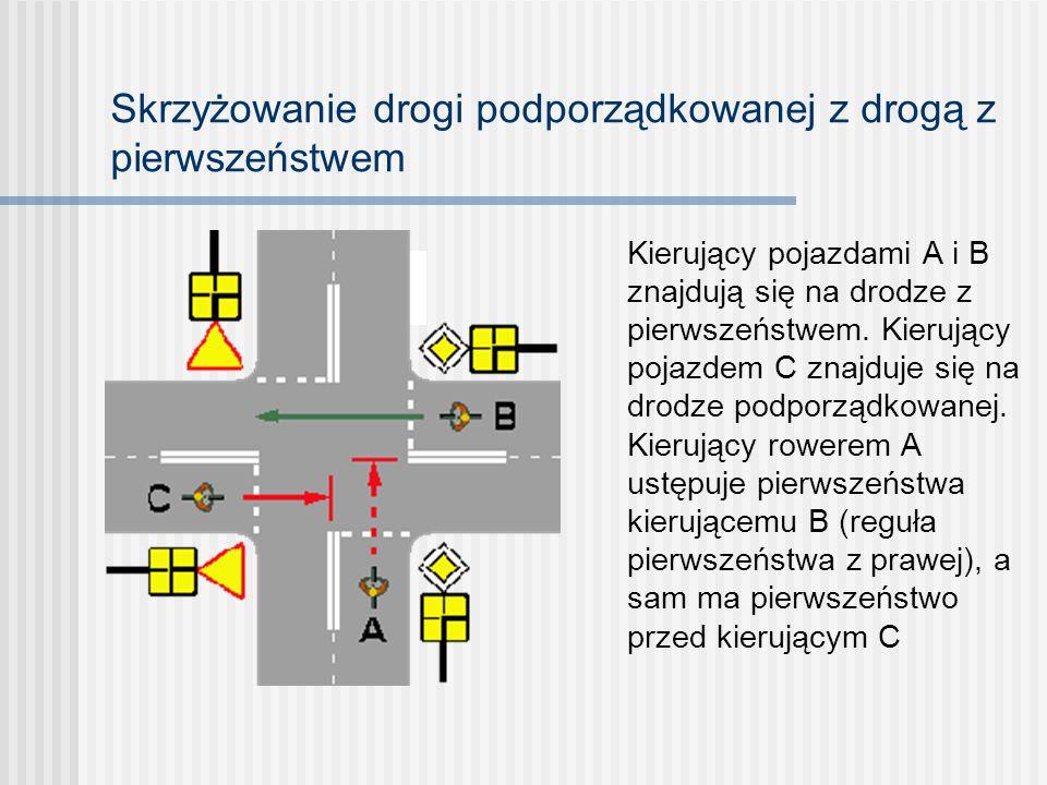 Pojazd szynowy (tramwaj) na skrzyżowaniu o ruchu okrężnym Pojazd szynowy B ustępuje pierwszeństwa wszystkim, którzy są w ruchu okrężnym; pojazd szynow