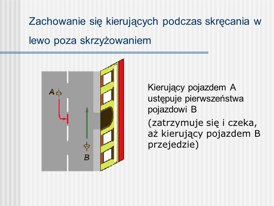 Skrzyżowanie drogi podporządkowanej z drogą z pierwszeństwem Kierujący pojazdami A i B znajdują się na drodze z pierwszeństwem. Kierujący pojazdem C z