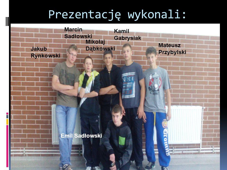 Prezentację wykonali: Jakub Rynkowski Marcin Sadłowski Mikołaj Dąbkowski Kamil Gabrysiak Mateusz Przybylski Emil Sadłowski