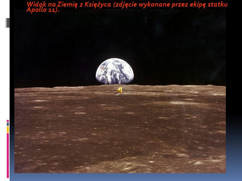 Horyzont Księżyca i Ziemia w oddali - zdjęcie zrobione przez sondę Clementine.