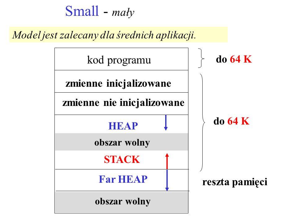 Small - mały zmienne inicjalizowane kod programu zmienne nie inicjalizowane HEAP obszar wolny STACK Far HEAP obszar wolny reszta pamięci do 64 K Model jest zalecany dla średnich aplikacji.