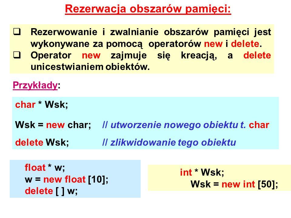 Rezerwacja obszarów pamięci:  Rezerwowanie i zwalnianie obszarów pamięci jest wykonywane za pomocą operatorów new i delete.