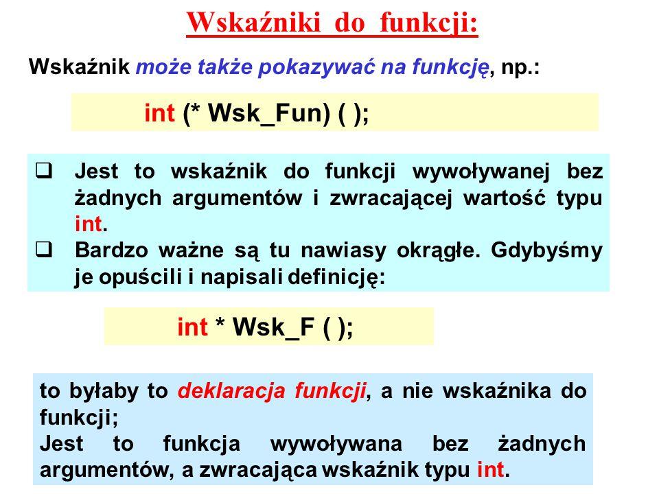 Wskaźniki do funkcji: Wskaźnik może także pokazywać na funkcję, np.: int (* Wsk_Fun) ( );  Jest to wskaźnik do funkcji wywoływanej bez żadnych argumentów i zwracającej wartość typu int.