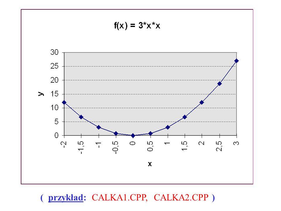 ( przykład: CALKA1.CPP, CALKA2.CPP )