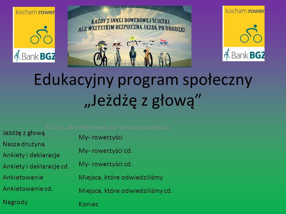 Jeżdżę z głową Wiele szkół w Polsce, w tym również nasza bierze udział w akcji społecznej pt.