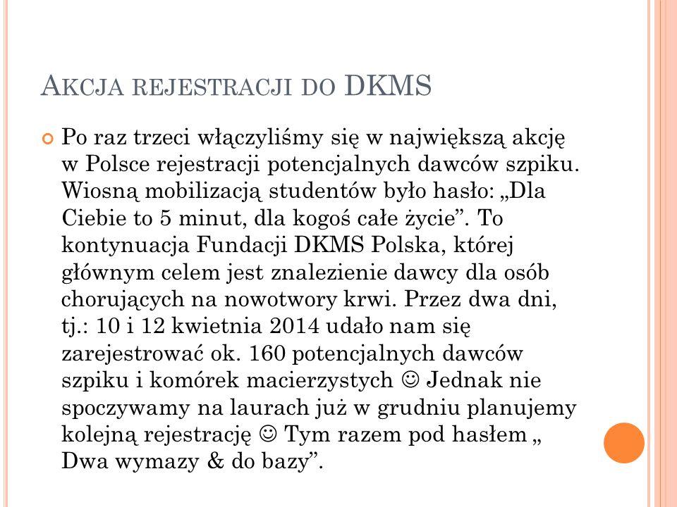A KCJA REJESTRACJI DO DKMS Po raz trzeci włączyliśmy się w największą akcję w Polsce rejestracji potencjalnych dawców szpiku. Wiosną mobilizacją stude