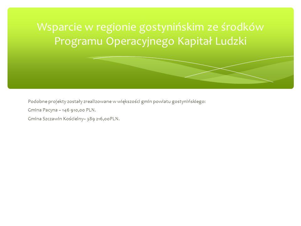 Podobne projekty zostały zrealizowane w większości gmin powiatu gostynińskiego: Gmina Pacyna – 146 910,00 PLN.