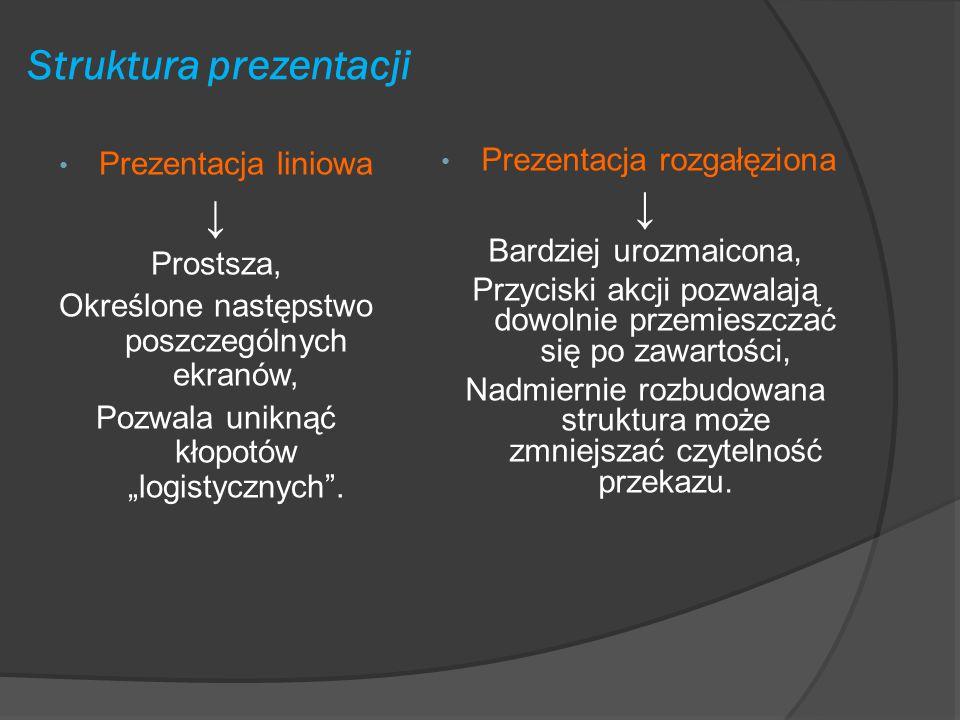 Elementy istotne podczas tworzenia prezentacji multimedialnych struktura prezentacji, pojemność informacyjna slajdów, kompozycja slajdów, kolorystyka,