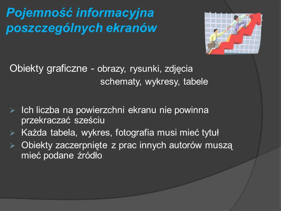 Pojemność informacyjna poszczególnych ekranów Wielkość i rodzaj czcionki  Rozmiar czcionki nie mniejszy niż 24 pkt  Czytelność zapisu maleje wraz z