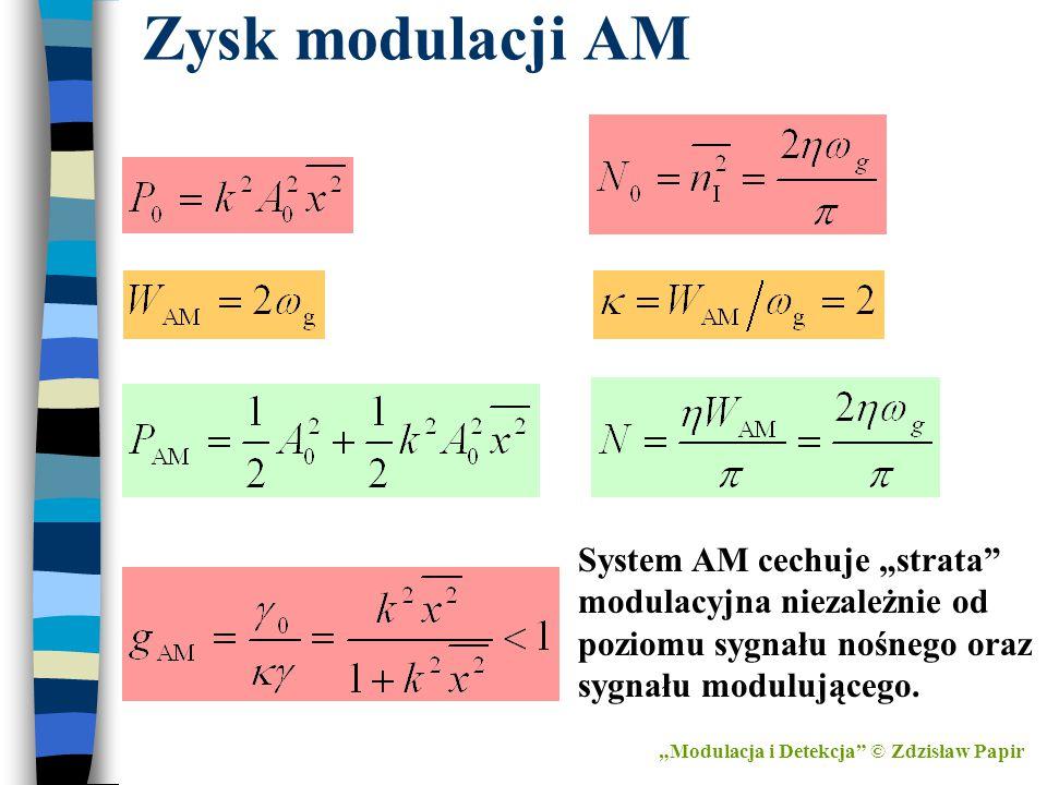 """Zysk modulacji AM System AM cechuje """"strata"""" modulacyjna niezależnie od poziomu sygnału nośnego oraz sygnału modulującego. """"Modulacja i Detekcja"""" © Zd"""