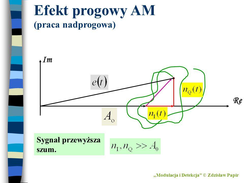 Efekt progowy AM (praca nadprogowa) Im Re Sygnał przewyższa szum.