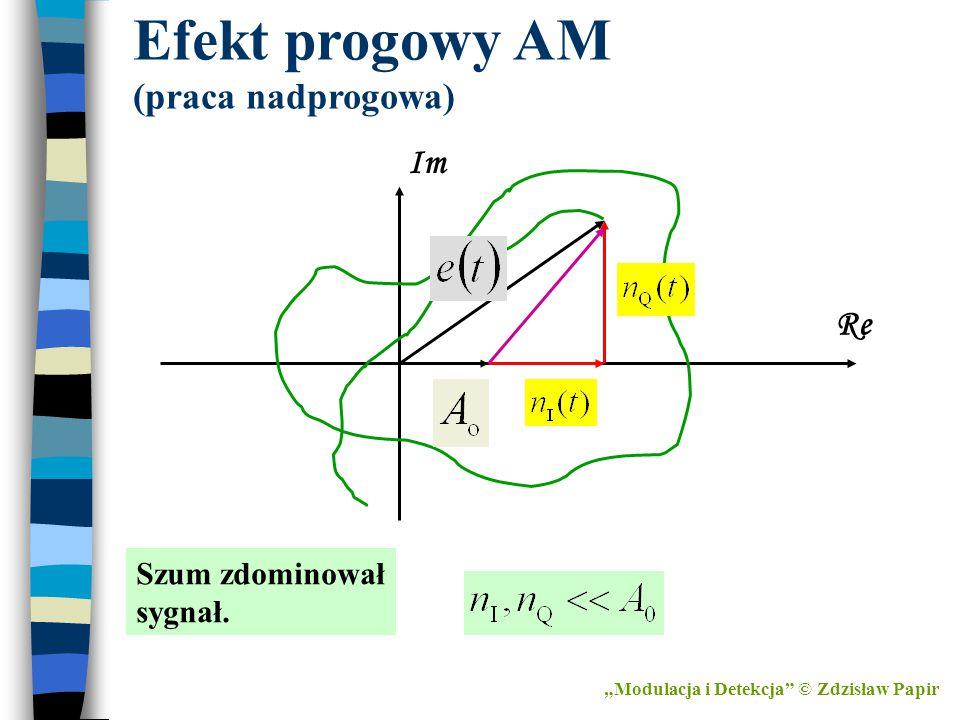 """""""Modulacja i Detekcja"""" © Zdzisław Papir Efekt progowy AM (praca nadprogowa) Im Re Szum zdominował sygnał."""