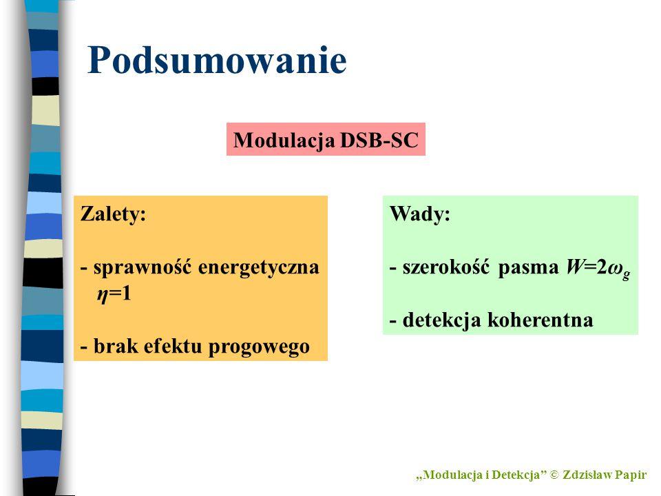 """Podsumowanie Modulacja DSB-SC Zalety: - sprawność energetyczna η=1 - brak efektu progowego Wady: - szerokość pasma W=2ω g - detekcja koherentna """"Modul"""